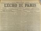L'écho de Paris. N° 12586 du 21 janvier 1919. La Méditerranée en avion par le lieutenant Henri Roget.. L'ECHO DE PARIS
