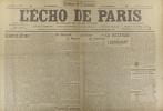 L'écho de Paris. N° 11872 du 16 février 1917.. L'ECHO DE PARIS