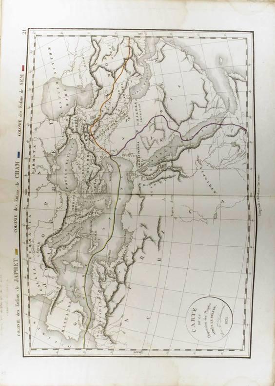 Carte de la dispersion des peuples après le déluge. (Carte dressée en 1835).. DELAMARCHE Félix