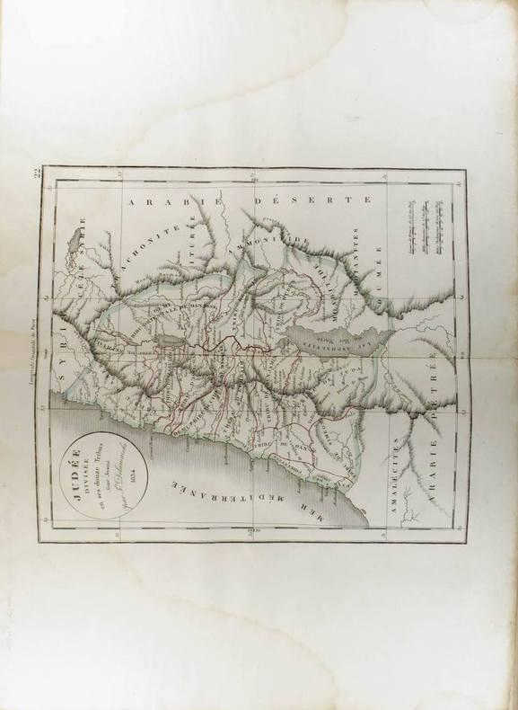 Judée divisée en ses douze tribus par Josué. (Carte dressée en 1834).. DELAMARCHE Félix