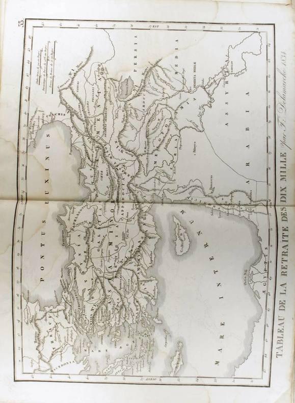 Tableau de la retraite des dix mille (Carte dressée en 1834).. DELAMARCHE Félix