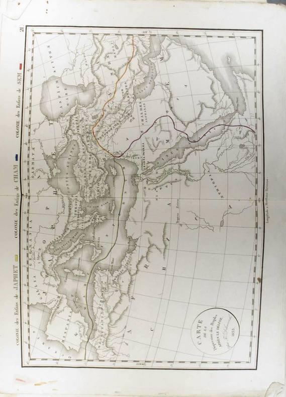 Carte de la dispersion des peuples après le déluge. (Carte dressée en 1833).. DELAMARCHE Félix