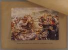 Belges repoussant les attaques allemandes à Liège. Gravure en couleurs extraite de l'histoire illustrée de la guerre du droit, d'Emile Hinzelin.. ...