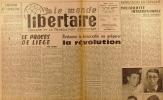 """""""Le Monde libertaire N° 85. Organe de la Fédération anarchiste. Mensuel. Le procès de Liège ; Répression en Espagne ; Statut des objecteurs de ..."""