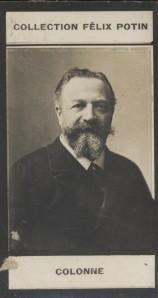 Photographie de la collection Félix Potin (4 x 7,5 cm) représentant : Edouard Colonne, musicien.. COLONNE (Edouard)