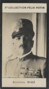 Photographie de la collection Félix Potin (4 x 7,5 cm) représentant : Général Diaz.. DIAZ (Général) - (Photo de la 3e collection Félix Potin)