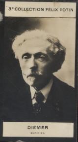 Photographie de la collection Félix Potin (4 x 7,5 cm) représentant : Diemer, musicien.. DIEMER (Musicien) - (Photo de la 3e collection Félix Potin)