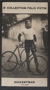 Photographie de la collection Félix Potin (4 x 7,5 cm) représentant : Friedrich Dickentman, champion cycliste. Début XXe.. DICKENTMAN ( Friedrich ) - ...