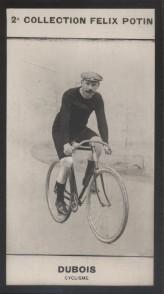 Photographie de la collection Félix Potin (4 x 7,5 cm) représentant : Jules Dubois, coureur à pied, cycliste puis automobiliste. Début XXe.. DUBOIS ...