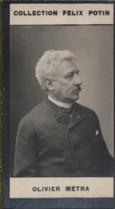 Photographie de la collection Félix Potin (4 x 7,5 cm) représentant : Olivier Métra, compositeur. Début XXe.. METRA (Olivier) - (Photo de la ...