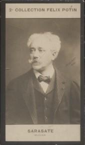 Photographie de la collection Félix Potin (4 x 7,5 cm) représentant : Pablo de Sarasate, musicien Début XXe.. SARASATE Pablo Martin Meliton de - ...