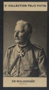 Photographie de la collection Félix Potin (4 x 7,5 cm) représentant : Comte Alfred de Waldersee, Maréchal. Début XXe.. WALDERSEE Alfred (Comte de) - ...