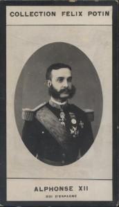 Photographie de la collection Félix Potin (4 x 7,5 cm) représentant : Alphonse XII - Roi d'Espagne.. ALPHONSE XII - Roi d'Espagne.