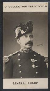 Photographie de la collection Félix Potin (4 x 7,5 cm) représentant : Louis-Joseph-Nicolas André, général, né à Nuits-Saint-Georges en 1838.. ANDRE ...