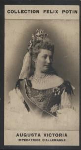 Photographie de la collection Félix Potin (4 x 7,5 cm) représentant : Augusta Victoria, Impératrice d'Allemagne Début XXe.. AUGUSTA VICTORIA, ...