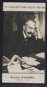 Photographie de la collection Félix Potin (4 x 7,5 cm) représentant :. AVENEL (Vicomte d') - (Photo de la 2e collection Félix Potin)