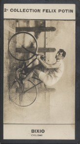Photographie de la collection Félix Potin (4 x 7,5 cm) représentant : Luigi Bixio, cycliste.. BIXIO (Luigi) - (Photo de la 2e collection Félix Potin)