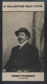 Photographie de la collection Félix Potin (4 x 7,5 cm) représentant : Henry Fournier, champion automobile. Début XXe.. FOURNIER (Henry) - (Photo de la ...