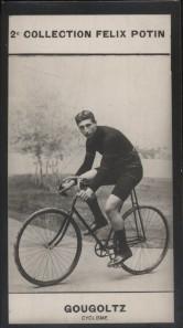Photographie de la collection Félix Potin (4 x 7,5 cm) représentant : André Gougoltz, coureur cycliste. Début XXe.. GOUGOLTZ (André) - (Photo de la 2e ...