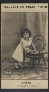Photographie de la collection Félix Potin (4 x 7,5 cm) représentant : Prince héritier Boris de Bulgarie.. BORIS - Prince de Bulgarie