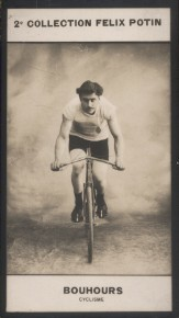 Photographie de la collection Félix Potin (4 x 7,5 cm) représentant : Jules Bouhours, cycliste.. BOUHOURS (Jules) - (Photo de la 2e collection Félix ...