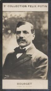 Photographie de la collection Félix Potin (4 x 7,5 cm) représentant : Paul Bourget, homme de lettres. Début XXe.. BOURGET (Paul) - (Photo de la 2e ...