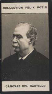 Photographie de la collection Félix Potin (4 x 7,5 cm) représentant : Antonio Canovas Del Castillo, homme politique espagnol.. CANOVAS DEL CASTILLO ...