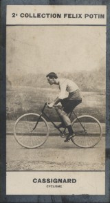 Photographie de la collection Félix Potin (4 x 7,5 cm) représentant : Georges Cassignard, coureur cycliste.. CASSIGNARD (Georges) - (Photo de la 2e ...