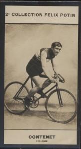 Photographie de la collection Félix Potin (4 x 7,5 cm) représentant : Georges Contenet, coureur cycliste. Début XXe.. CONTENET (Georges) - (Photo de ...