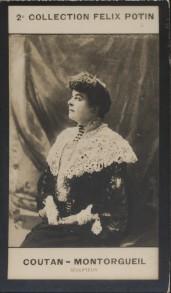 Photographie de la collection Félix Potin (4 x 7,5 cm) représentant : Laure Coutan-Montorgueil, sculpteur.. COUTAN-MONTORGUEIL (Laure) - (Photo de la ...