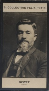 Photographie de la collection Félix Potin (4 x 7,5 cm) représentant : Général Christian Dewet.. DEWET (Christian) - (Photo de la 2e collection Félix ...