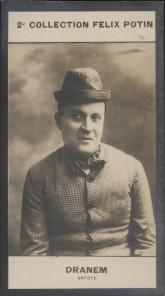 Photographie de la collection Félix Potin (4 x 7,5 cm) représentant : Armand Ménard, dit Dranem.. DRANEM (Armand) - (Photo de la 2e collection Félix ...