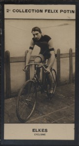 Photographie de la collection Félix Potin (4 x 7,5 cm) représentant : William Elkes, coureur cycliste.. ELKES (William) - (Photo de la 2e collection ...