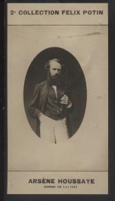 Photographie de la collection Félix Potin (4 x 7,5 cm) représentant : Arsène Houssaye, homme de lettres. Début XXe.. HOUSSAYE (Arsène) - (Photo de la ...
