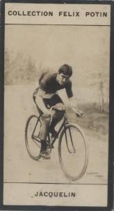 Photographie de la collection Félix Potin (4 x 7,5 cm) représentant : Edmond Jacquelin, coureur cycliste. Début XXe.. JACQUELIN (Edmond) - (Photo de ...
