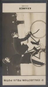 Photographie de la collection Félix Potin (4 x 7,5 cm) représentant : Franck Kramer, coureur cycliste. Début XXe.. KRAMER (Franck) - (Photo de la 2e ...