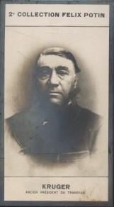 Photographie de la collection Félix Potin (4 x 7,5 cm) représentant : Paul Kruger - Président de la République Sud-Africaine.. KRUGER (Paul) - (Photo ...