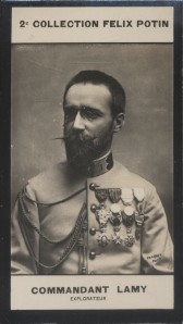 Photographie de la collection Félix Potin (4 x 7,5 cm) représentant : Commandant Lamy, explorateur. Début XXe.. LAMY (Commandant) - (Photo de la 2e ...