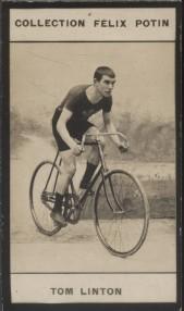 Photographie de la collection Félix Potin (4 x 7,5 cm) représentant : Tom Linton, cycliste. Début XXe.. LINTON (Tom) - (Photo de la collection Félix ...