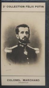 Photographie de la collection Félix Potin (4 x 7,5 cm) représentant : Colonel Marchand, explorateur. Début XXe.. MARCHAND (Jean-Baptiste) - (Photo de ...