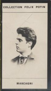 Photographie de la collection Félix Potin (4 x 7,5 cm) représentant : Pietro Mascagni, musicien. Début XXe.. MASCAGNI (Pietro) - (Photo de la ...