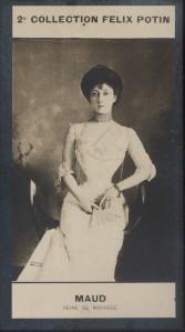 Photographie de la collection Félix Potin (4 x 7,5 cm) représentant : Reine Maud de Norvège. Début XXe.. MAUD (Reine de Norvège) - (Photo de la 2e ...