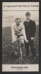 Photographie de la collection Félix Potin (4 x 7,5 cm) représentant : Louis Trousselier, coureur cycliste. Début XXe.. TROUSSELIER Louis - (Photo de ...