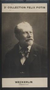 Photographie de la collection Félix Potin (4 x 7,5 cm) représentant : Jean-Baptiste Weckerlin, compositeur. Début XXe.. WECKERLIN Jean-Baptiste - ...