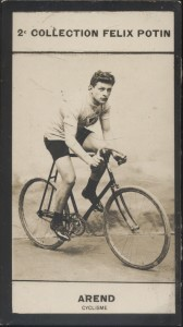 Photographie de la collection Félix Potin (4 x 7,5 cm) représentant : Willy Arend, coureur cycliste. Début XXe.. AREND (Willy) - (Photo de la 2e ...