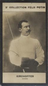 Photographie de la collection Félix Potin (4 x 7,5 cm) représentant : Alphonse Kirchhoffer, escrimeur.. KIRCHHOFFER (Alphonse) - (Photo de la 2e ...
