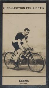 Photographie de la collection Félix Potin (4 x 7,5 cm) représentant : Lucien Lesna, coureur cycliste. Début XXe.. LESNA (Lucien) - (Photo de la 2e ...