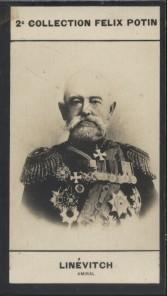 Photographie de la collection Félix Potin (4 x 7,5 cm) représentant : Général Linévitch.. LINEVITCH (Nicolas-Pétrovitch) - (Photo de la 2e collection ...