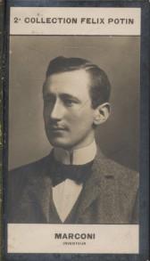Photographie de la collection Félix Potin (4 x 7,5 cm) représentant : Guillaume Marconi, inventeur.. MARCONI (Guillaume) - (Photo de la 2e collection ...