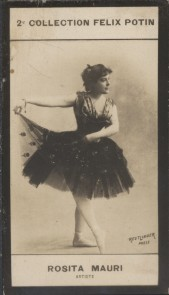 Photographie de la collection Félix Potin (4 x 7,5 cm) représentant : Rosita Mauri, danseuse.. MAURI (Rosita) - (Photo de la 2e collection Félix ...